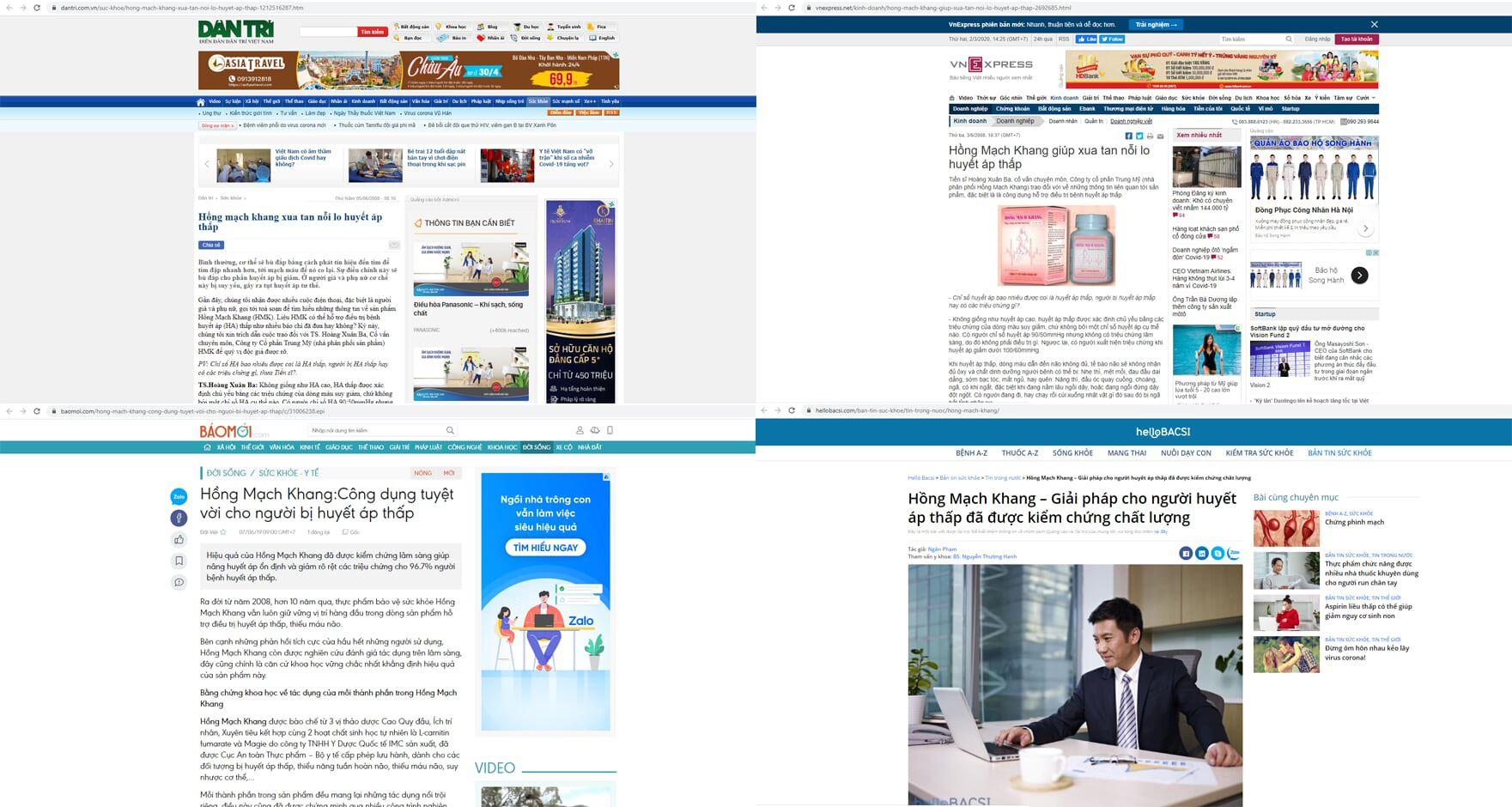 Báo chí đăng tải hiệu quả của Hồng Mạch Khang